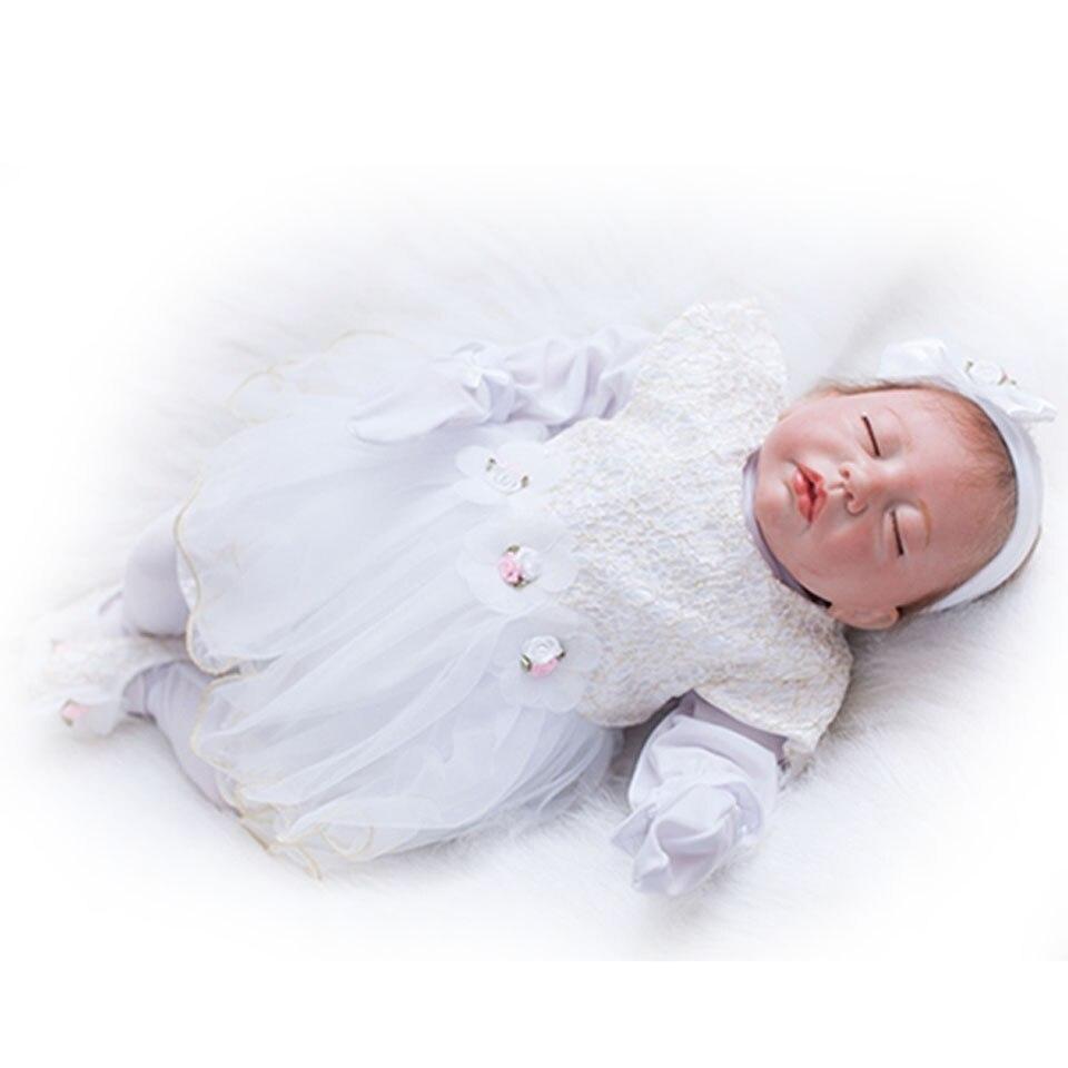 Realistic Reborn Baby Dolls 20'' 50 cm Soft Silicone Baby Dolls Looks Truly Sleeping Bebe Alive Girl Wear White Dress kits фурминатор для кошек furminator для больших короткошерстных пород 7см