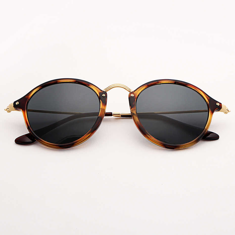 b26372a0756d 2447 vintage round sunglasses polarized men women 49mm mirror sunglass  leopard acetate frame glass lens glasses