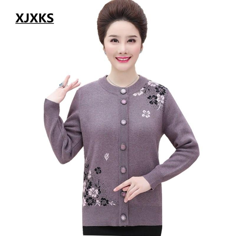 XJXKS 2018 nouveaux arrivants cardigan tricoté femmes vestes chandails manteau outwear simple boutonnage imprimé moyen vieilli femmes chandail