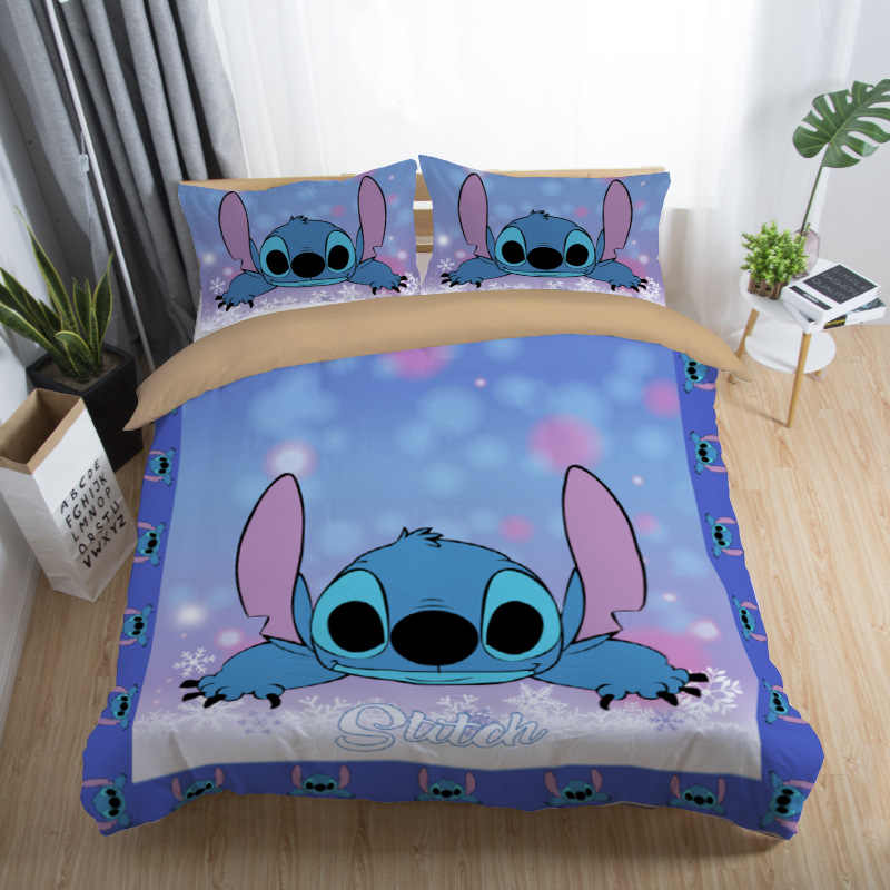 Disney Stitch Bedding Sets Queen King Size Cartoon Quilt Cover Pillowcase Duvet Cover Set for Children Adult