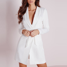 HYH HAOYIHUI Women Dress Vestidos Solid White High Waist Casual Slim Office Dresses Sexy Plunge Neck Elegant Blazer Mini Dress