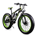 Cyrusher New 36V 350 Watt Lithium Battery Electric Snow Bike Mountain Bike 7 Speed Electric Bicycle Black and Green Road Cycling