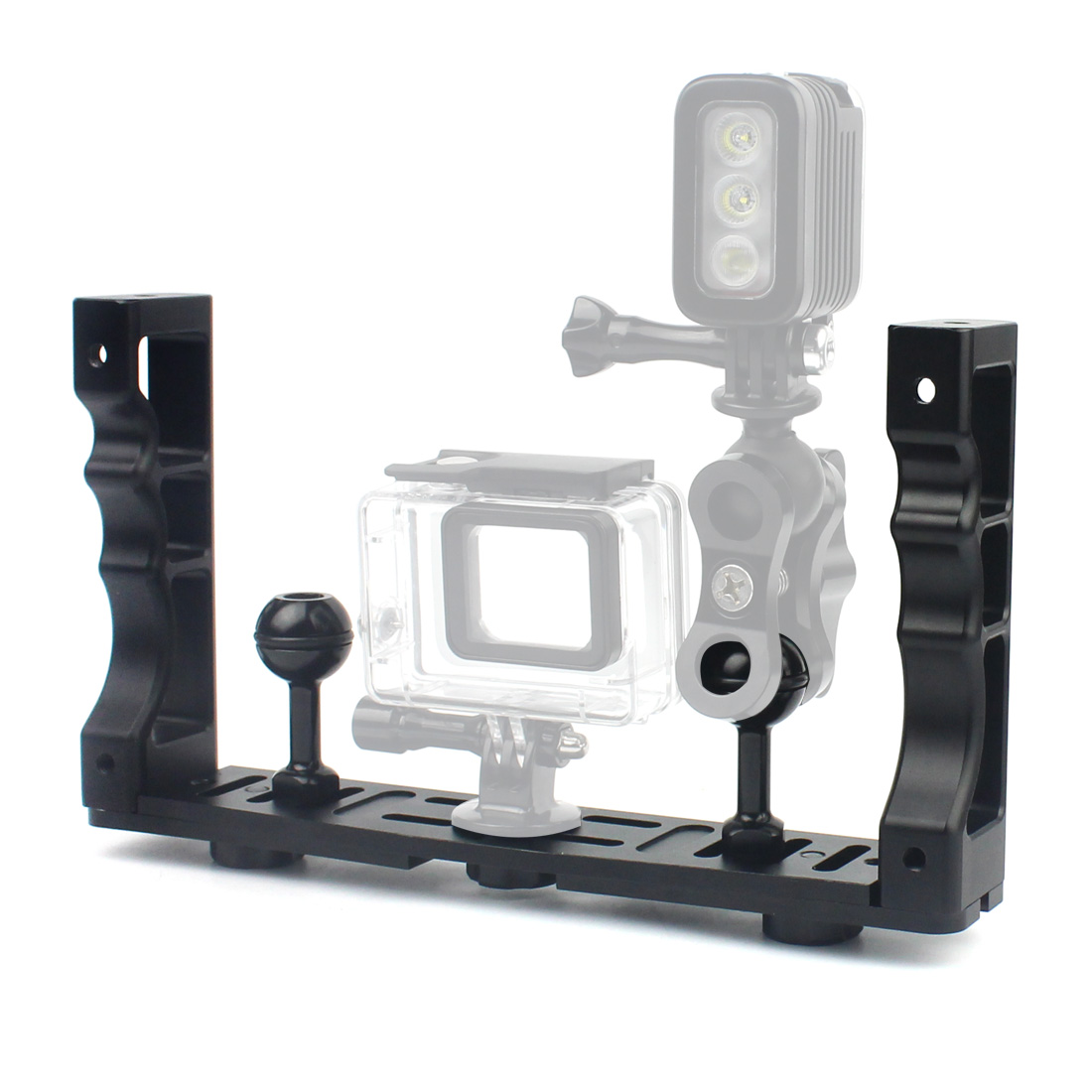 CNC Алюминий Сплав Ручка Стабилизатор установка ручной подводный дайвинг лоток крепление/светодио дный свет для камеры Go Pro DSLR