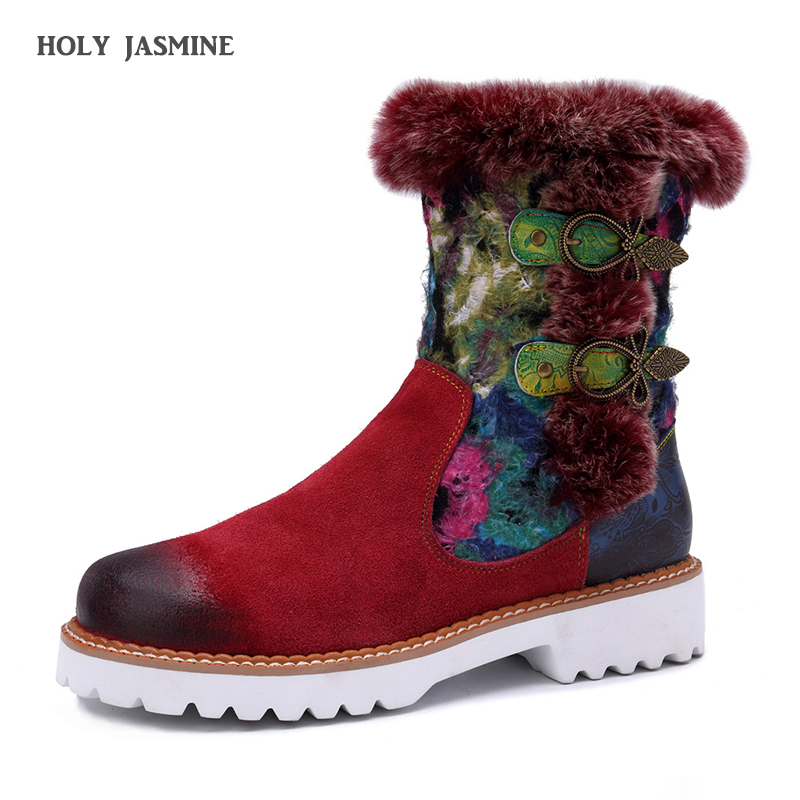 Vintage Knight Mid calf Boots Women Shoes Genuine Leather Plush Fur lined Motorcycle Boots 2019 Winter
