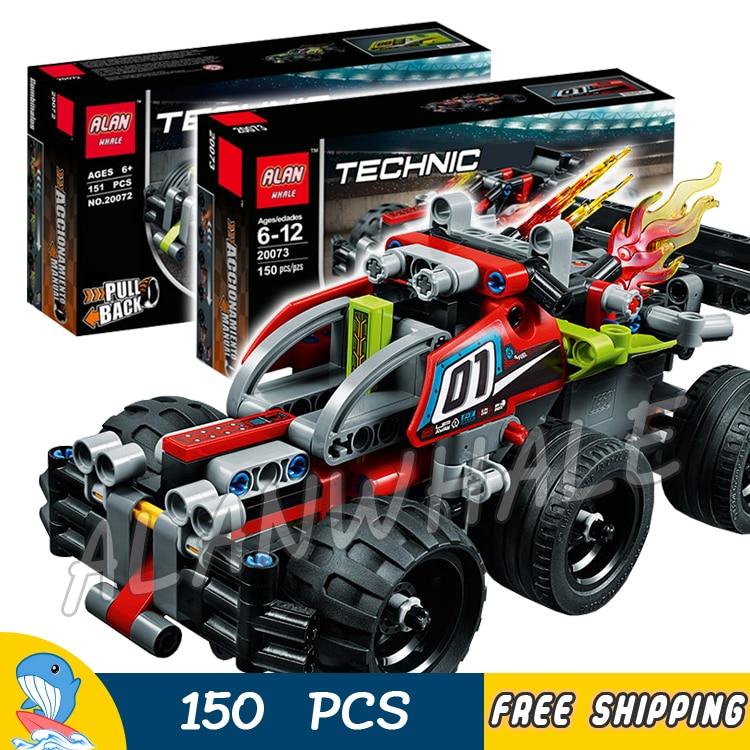 150pcs Techinic Advanced Whack Bash Pull-back Super Racer 20072 20073 DIY Model Building Blocks Toys Bricks Compatible With lego