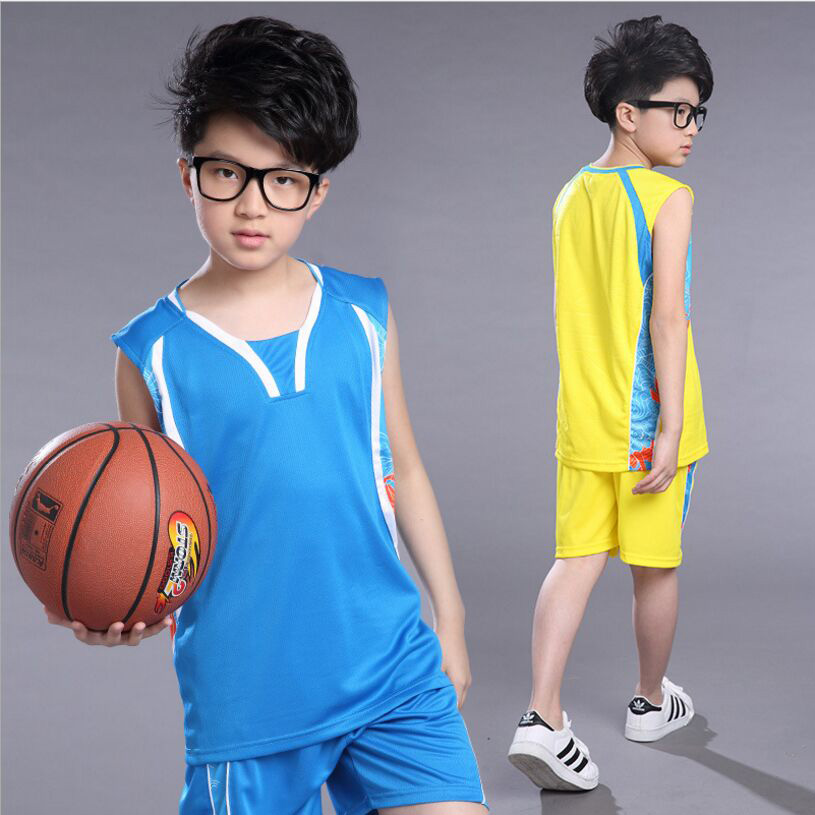 Summer Boys Sport Pants 2018 New Big Boys Vest + Shorts Basketbal Suits Student Suits