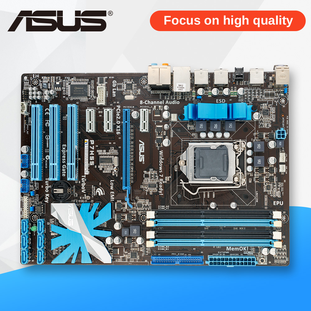 Asus P7H55 Desktop Motherboard H55 Socket LGA 1156 i3 i5 i7 E3 DDR3 ATX On Sale asus p5ql cm desktop motherboard g43 socket lga 775 q8200 q8300 ddr2 8g u atx uefi bios original used mainboard on sale