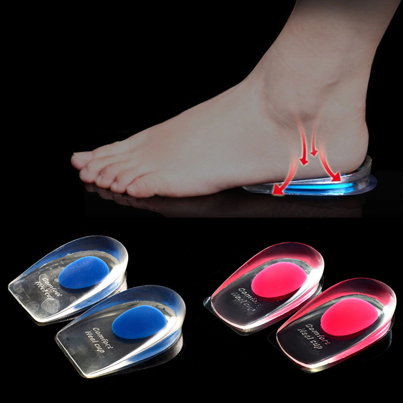 New Heel Support Pad Cup Gel Silicone Shock Cushion Orthotic Plantar Care Insole
