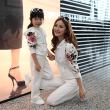 Mom and Daughter Clothing Sets Family Matching Outfits Autumn Winter Fashion Print Costume Mother Daughter Clothes Family Look