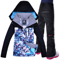 GSOU SNOW Women Ski Snowboard Jacket Pant Windproof Waterproof Suit Hooded Thicken Thermal Female Outdoor Sport Clothing Trouser