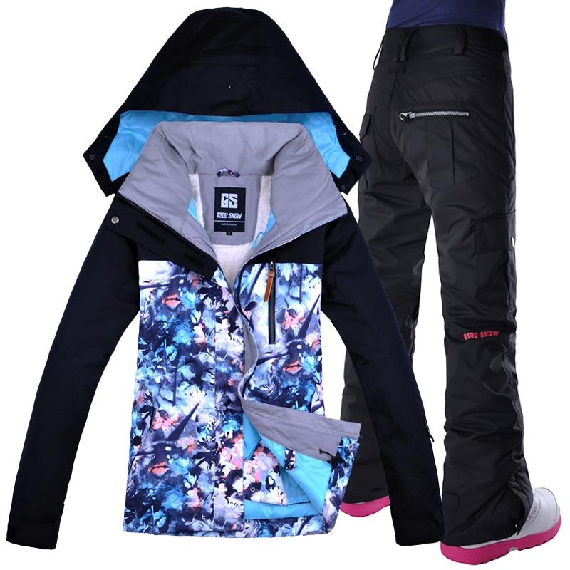 GSOU neige femmes Ski Snowboard veste pantalon coupe-vent imperméable costume à capuche épaissir thermique femme plein air Sport vêtements pantalon