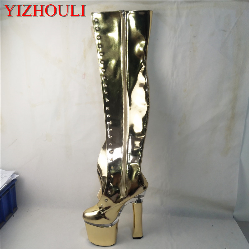 Fashion new boots, nightclub model stage show, 18 cm heel tall square heel, knee boots, custom-made various colorsFashion new boots, nightclub model stage show, 18 cm heel tall square heel, knee boots, custom-made various colors