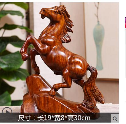 Wood carving horse zodiac solid furniture rosewood crafts success decoration art gift craft horse gift home gangnam