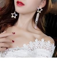 DREJEW Asymmetrical Pearl Star Tassel Rhinestone Statement Earrings 2019 925 Alloy Drop for Women Fashion Jewelry HE423