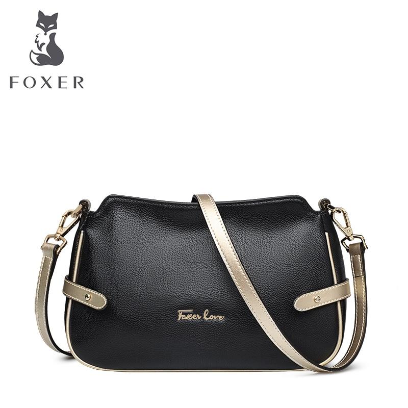 FOXER marque femmes sac à bandoulière en cuir véritable et sacs à bandoulière femme sac Messenger mode femme petits sacs-in Sacs à bandoulière from Baggages et sacs    1