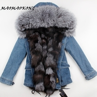 2017 New Women Winter Fur Parka Army Green Jacket Coats Thick Large Real Raccoon Fur Collar Fox Fur Liner Outwear Brand Style