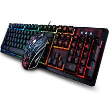 104 Keys Gaming Keyboard Mouse Rainbow LED Backlit Mechanical Feeling Pro and Combo