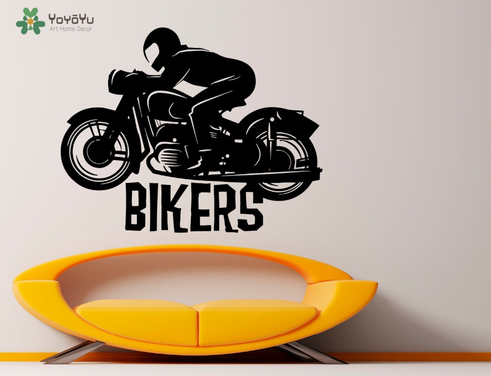 Man Bikers Wall Stickers For Kids Rooms Removable Boys Bedroom Art Mural Home Decor Playroom Interior Accessories DIY VogueSY306