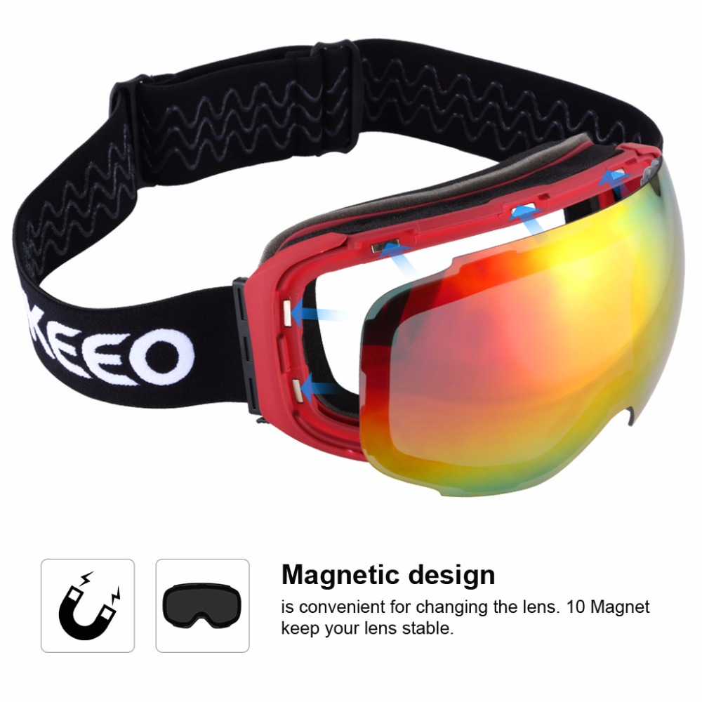 enkeeo occhiali da sci  Enkeeo Occhiali Da Sci lenti UV400 Protezione Anti fog Lenti di ...