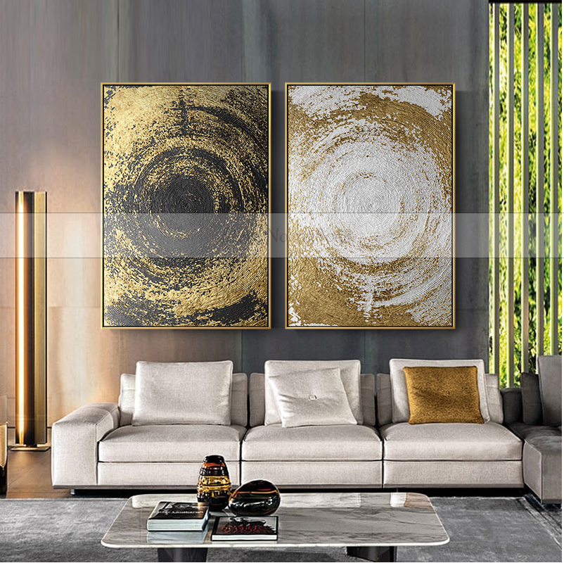 White And Gold Wall Decor: 100% Handmade Gold And White Quicksand Abstract Canvas