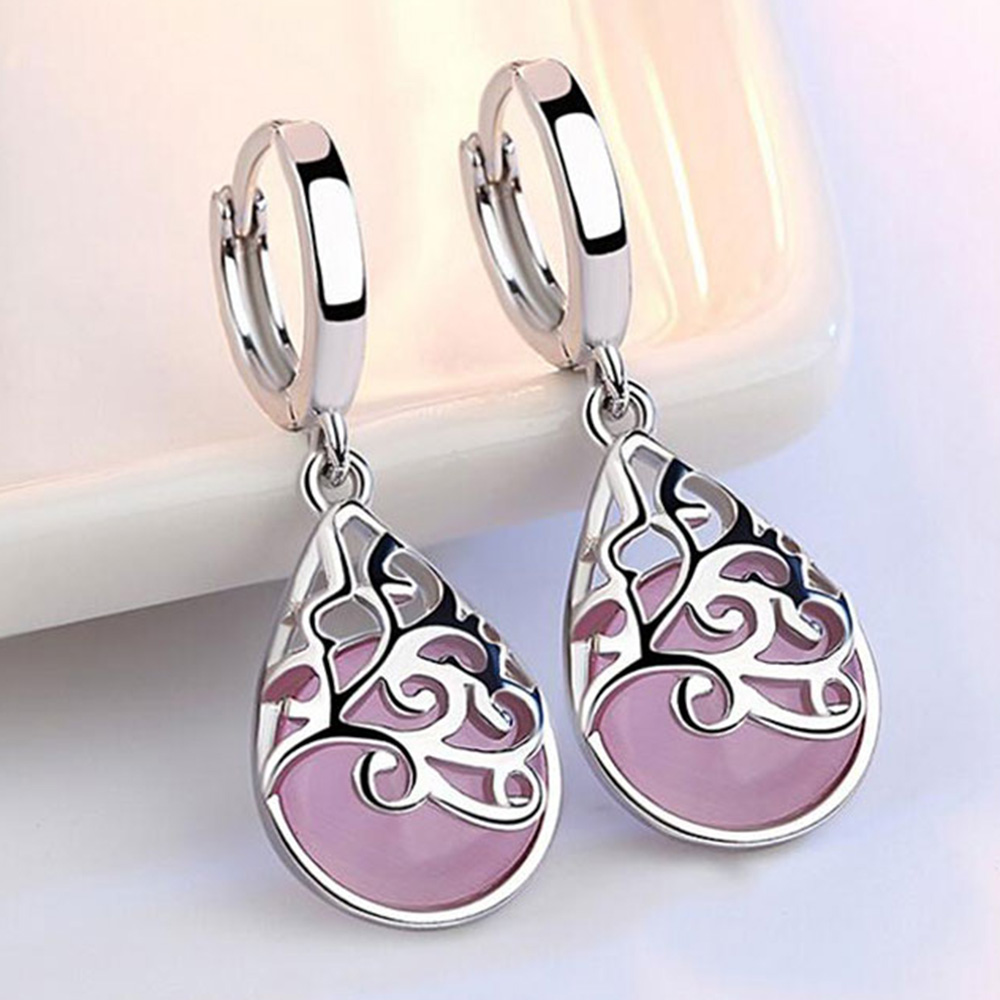 Beiver Pink / White Cat's Eye Stone Water Drop Earrings for Women White Gold Jewelry Ladies Gift Free Shipping