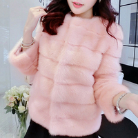 Korean Casual Winter Women Faux Fur Coat Thicken Fake Rabbit Hair Cardigan Fluffy Coats Outerwear Pink Short Coats Manteau Femme