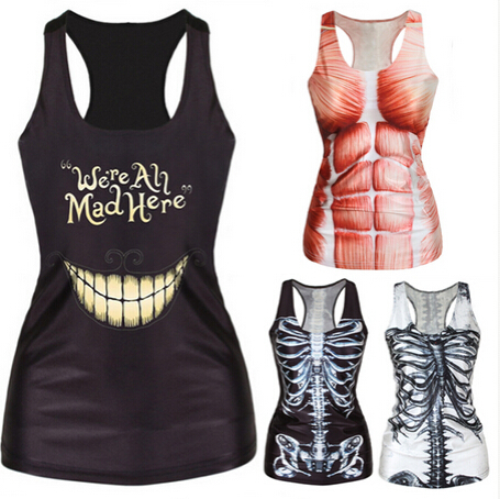 Женщины рубашка Живопись Прохладный Шаблон 3D кости Черепа Бретели Sexy печати Жилет Танки Топы