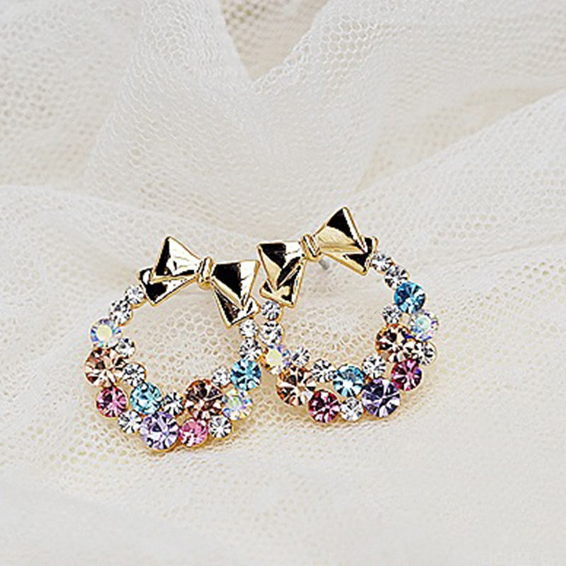white item stud pink with s gems metal women opalescence earring fashion colourful brand arrival new sweet earrings