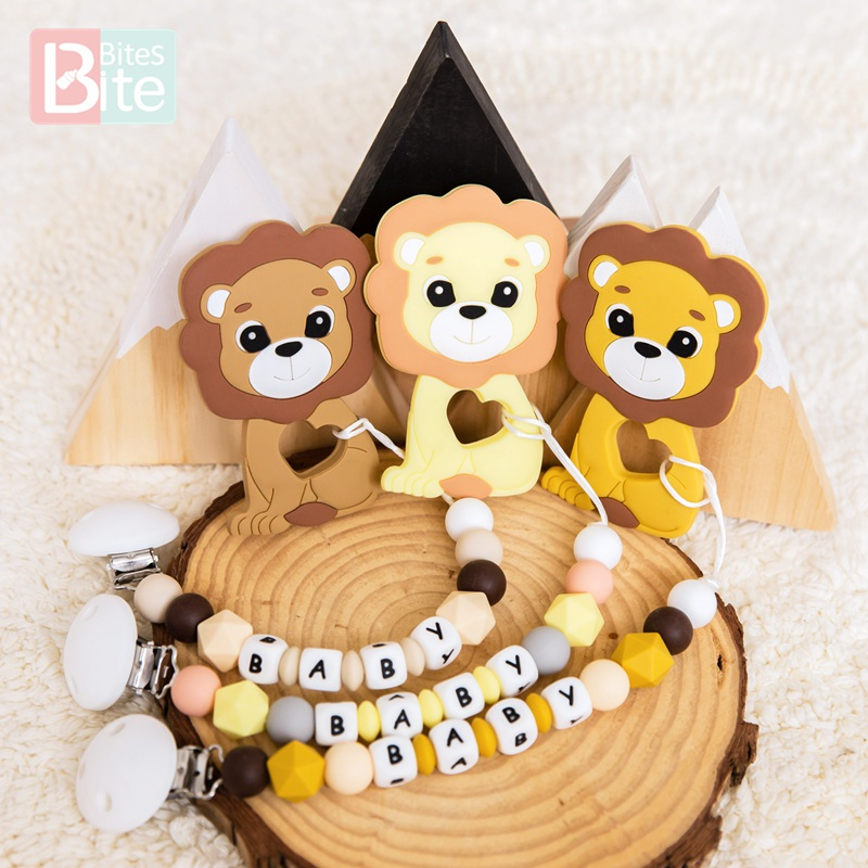 Silicone Lion King Case Pacifier Chain Nipple Personalized Name Pacifier Clips Silicone Beads Holder Chain Baby Teether For Kids