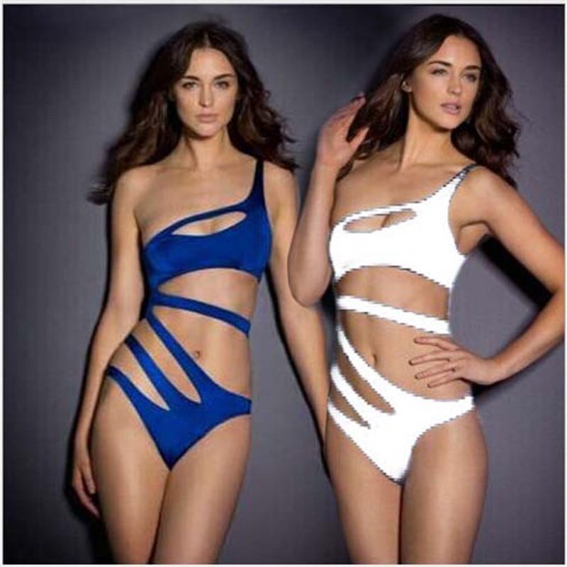 2016 Summer Sexy Bikini Women Swimwear Shoulder Piece Sapphire Blue Waist Ms. Bikini Bathing Beachwear