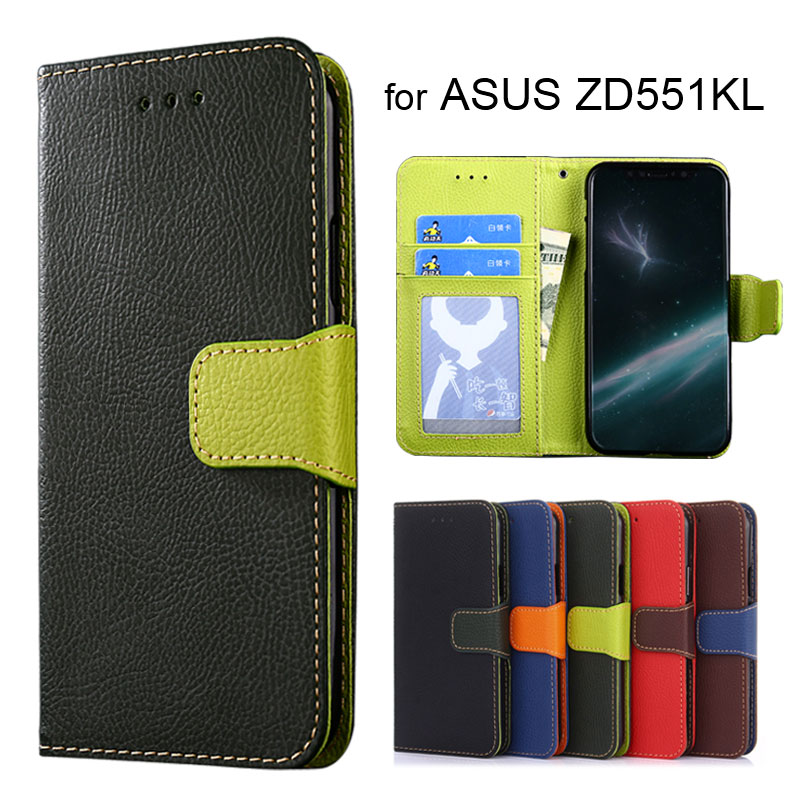 Wallet case for ASUS Zenfone Selfie ZD551KL Litchi pattern PU leather with inside soft TPU cover coque Hit color