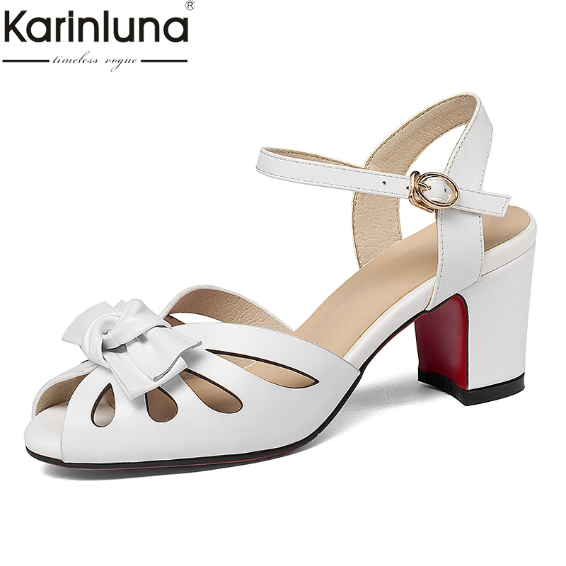 Karinluna Inc Elegant Genuine Leather Chunky Heels Women Shoes Comfortable Party Sandals ankle strap Shoes Woman