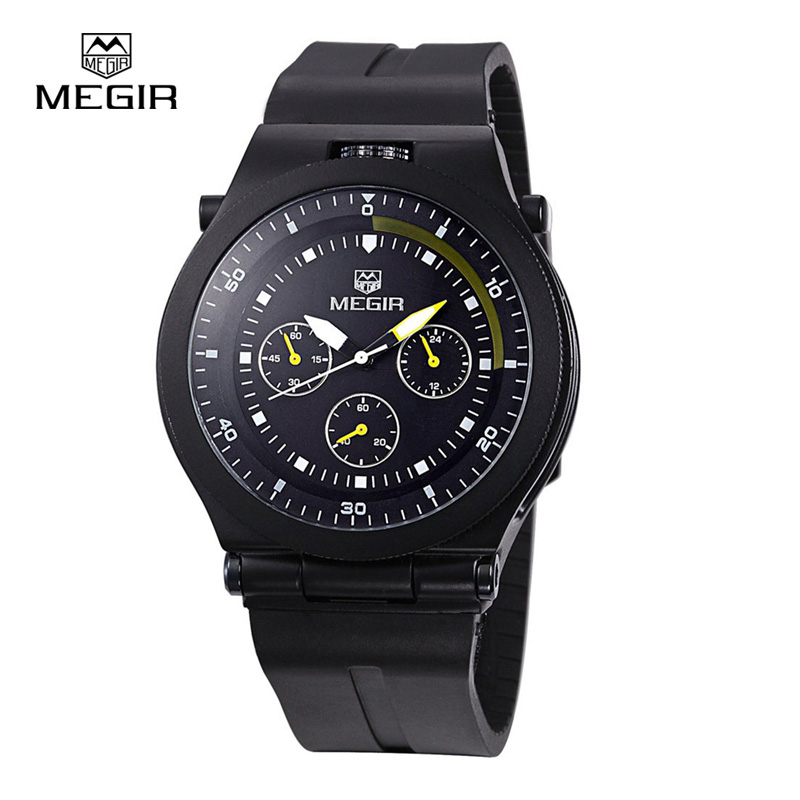 все цены на  MEGIR Brand 2015 Men's Business Casual Watch Analog Quartz Silicone Wristwatches Brass Dial Clock relogio masculino 3003  в интернете