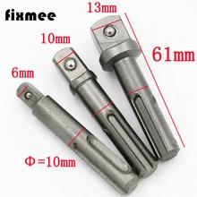ФОТО  SDS Socket Driver Set Drill Bit Adaptor 3/8 1/4 1/2 Hex Shank Converter Impact Drill Hammer Adapter Tools BI049