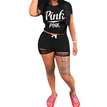 f8aa8031b2e Summer Two Piece Outfits For Women Tracksuit 2 Piece Set Plus Size Pink  Letter Print T