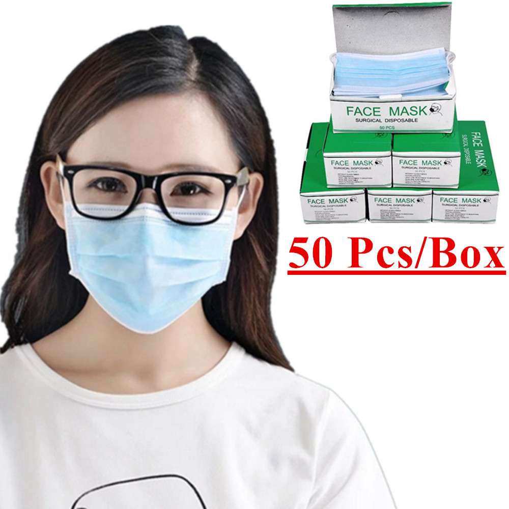 50 Pcs / Bag Disposable Masks Industry Non-woven Pm2.5 Dust Mask Male And Female Generic Blue Hanging Ear Type Protective Masks non woven fabrics hanging type 18 cd dvd card holder beige