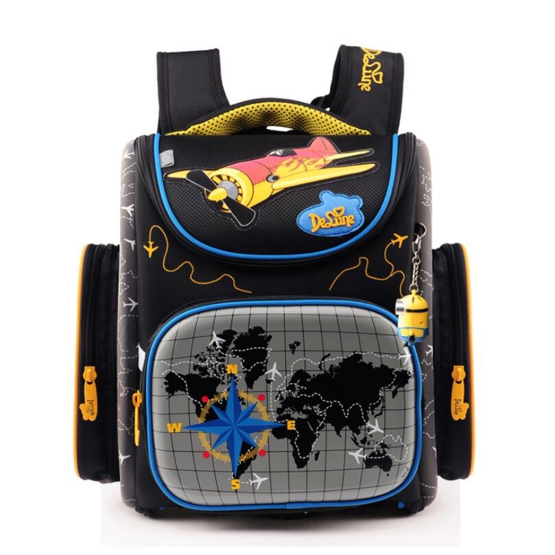 цены  Brand Children School Bags for Boys Orthopedic Backpack Cartoon Cars or planes Schoolbag Kids Satchel Mochila Infantil Grade 1-5