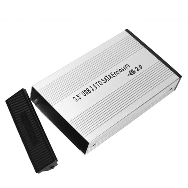 AC Adapter 3.5 inch Silver USB 2.0 SATA External HDD HD Hard Drive Enclosure Case Box Brand New High Quality