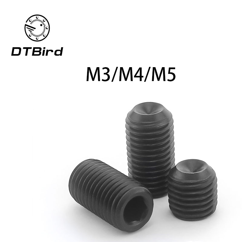 Free shipping DIN916 304 stainless steel Concave set screws hex socket black Chimi M3 M4 M5 screw headless Top wire machine free shipping iso7380 304 stainless steel round head screw m3 m4 m5 m6 screws hex socket screw three combination 2018 hot