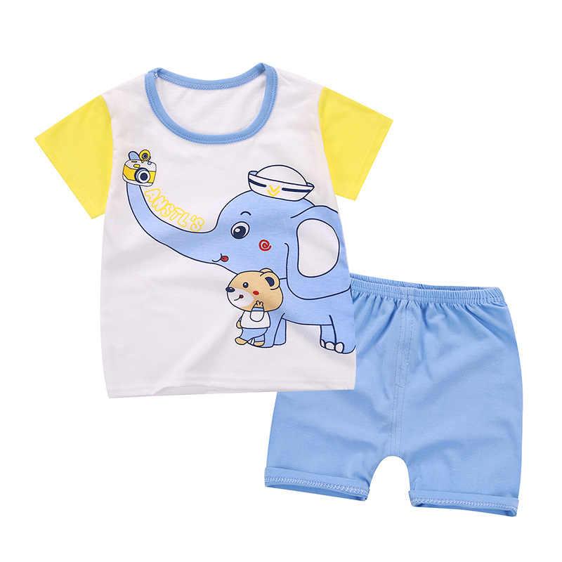 2019 mùa hè mới quần áo bé gái bộ thời trang 100% cotton trẻ em bộ cơ thể phù hợp với trẻ em Quần Short Nữ tay hoạt hình bé trai bộ quần áo
