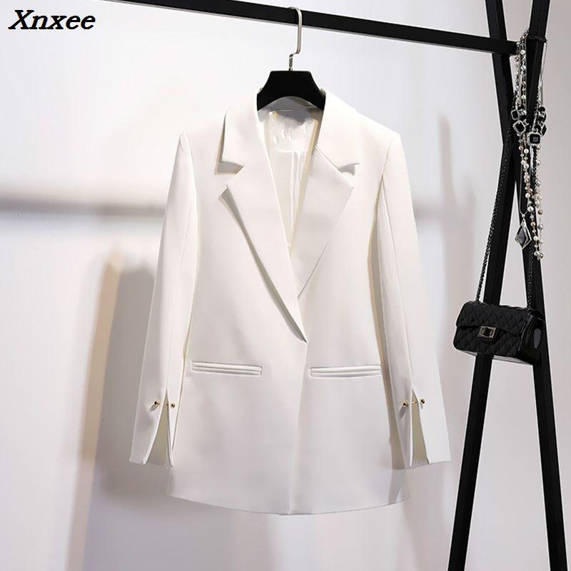 2019 Spring Autumn Suit Jacket Women White Black Pink Korean Elegant Solid Loose Casual Blazer Jacket Womens Formal Coat Xnxee