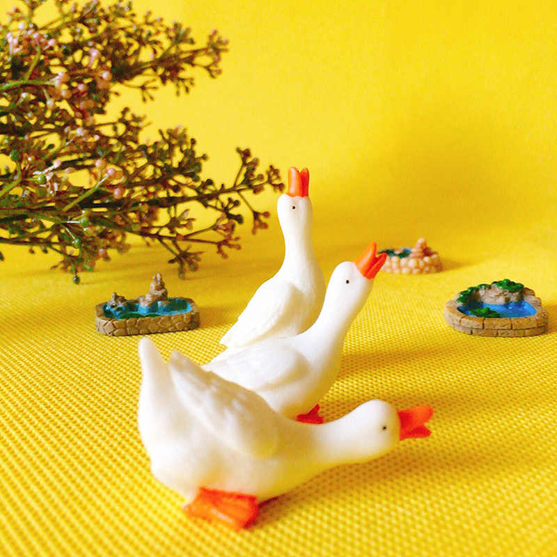 3pcs goose/cute pond/pool/miniatures figurine/fairy garden gnome/terrarium home table decoration/crafts/diy supplies/toy/model