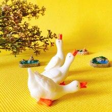 3 pçs ganso/lagoa bonito/piscina/miniaturas estatueta/jardim de fadas gnome/terrário casa decoração de mesa/artesanato/diy suprimentos/brinquedo/modelo