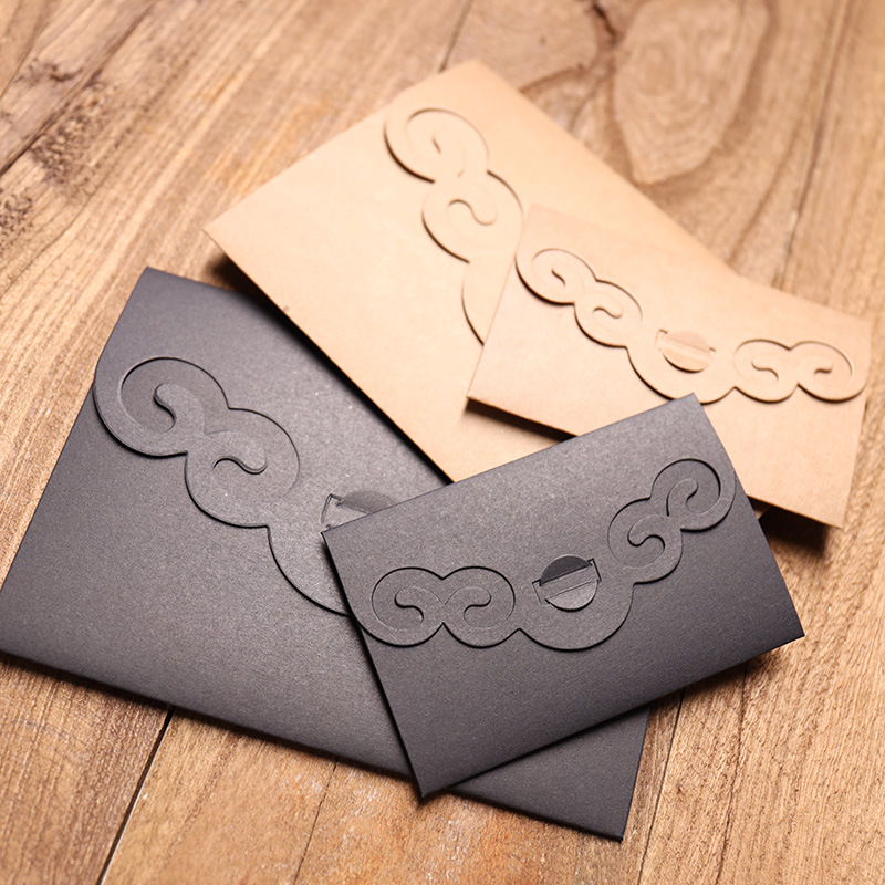(10 Pieces/lot) 10.5*7CM/16.2x11.4CM Chinese Style Retro Literary Hollowed Envelopes Classical Black Card Kraft Envelopes