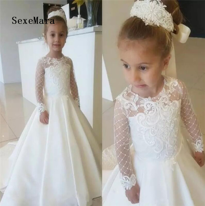 2018 First Communion Dress For Girls Lace Long Sleeve Flower Girl Dresses Cute Bow Girls Pageant Dress Party Gown girls formal dress lace three quarter ball gown backless bow sash long flower girls communion 2016 pageant dress 1 14 years old