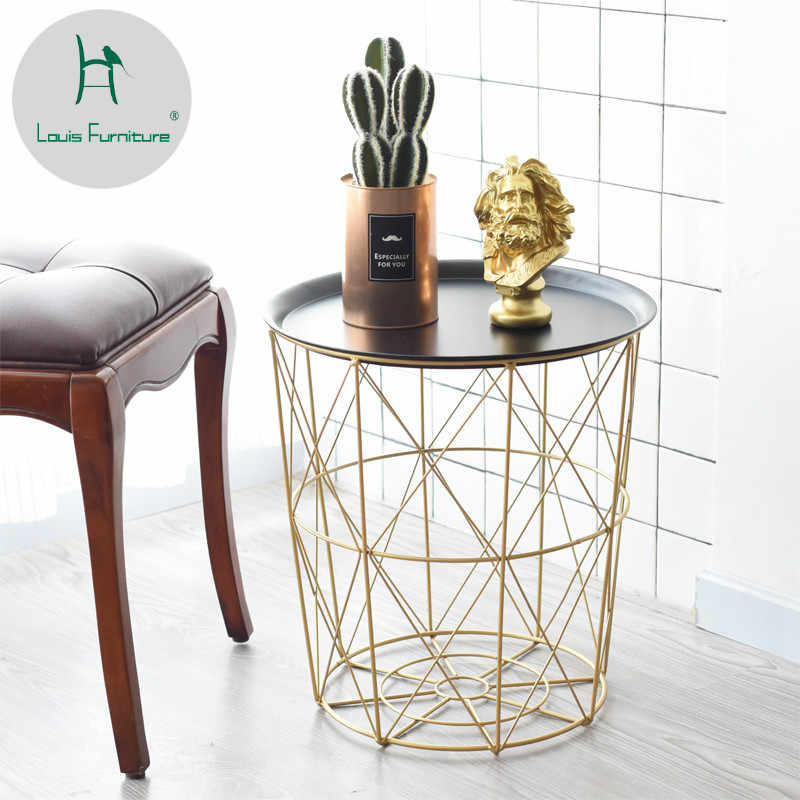 Louis Fashion Nordic Style Creative Modern Iron Art Includes Baskets Small Tea Table Living Room Decoration Corner Sofa Side