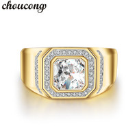 Choucong Fine Jewelry Men Ring 2ct 5A Zircon Diamonique Cz Yellow Gold Filled Male Emgagement Wedding