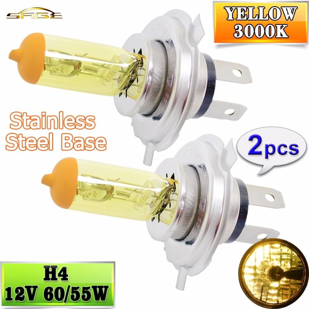 Hippcron H4 галогенная лампа желтого цвета 12 в 60/55 Вт 3000K 2 шт. (1 пара) передсветильник фара стеклянсветильник РА автомобильная лампа