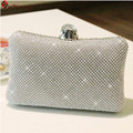 New Women Luxurious Sparkling Crystal Bridal Clutch Sided Diamond Hard Case Evening Bag Wedding Party Handbag Chain Shoulder Bag