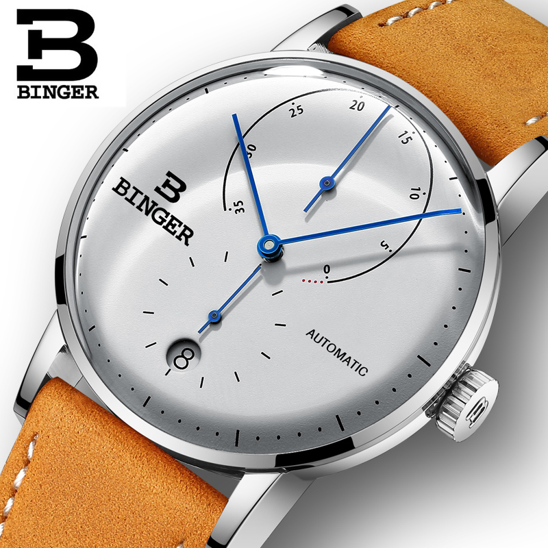 Switzerland BINGER Men Watch Automatic Mechanical Mens Watches Male Japan Movement Sapphire White Clock relogio masculino 2018 đồng hồ binger bg54